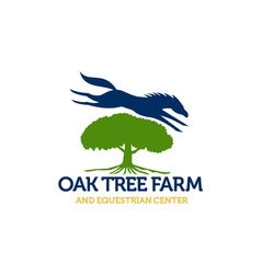 Horse Jumping Over Oak Tree Retro vector