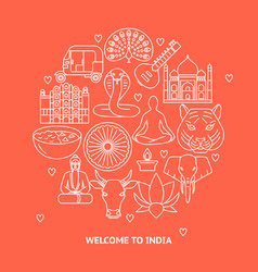 india concept round banner in thin line style vector image