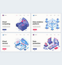 isometric cloud data service vector image