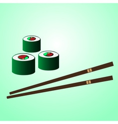 Japan sushi food with chopstick on the table eps10 vector