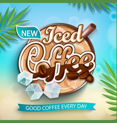 label iced coffee with iced cubes vector image