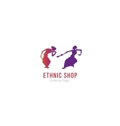 Logo ethnic shop Dancing girls vector