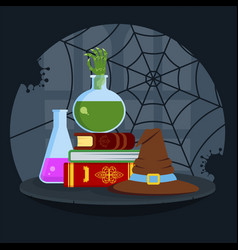 Magical books poisonous potion and bewitched hat vector