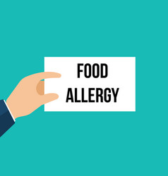 Man showing paper food allergy text vector
