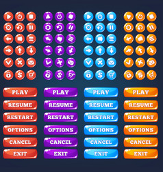Mobile game ui collection of icong and buttons vector