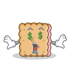 Money eye biscuit cartoon character style vector