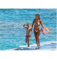Mother with son walk on beach colorful vector
