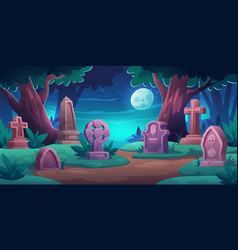 Old cemetery with graves and tombstones at night vector