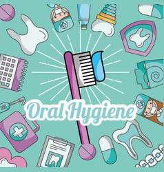 Oral hygiene brushing paste dental care vector
