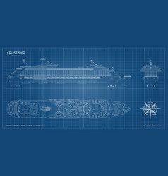 Outline blueprint cruise ship side top front vector