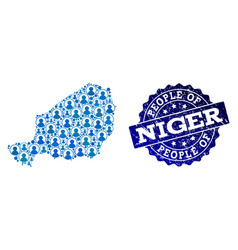 People composition of mosaic map of niger and vector