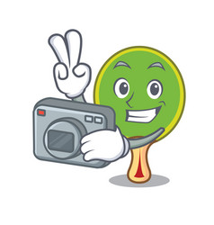 Photographer ping pong racket mascot cartoon vector
