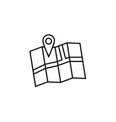Pin with map line icon navigation and location vector