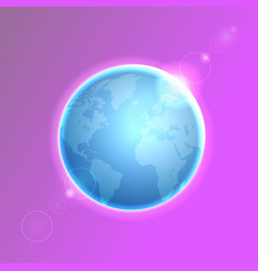 Planet earth on colorful defocused lights bokeh vector