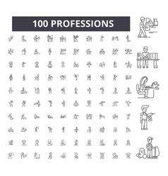 professions editable line icons 100 set vector image
