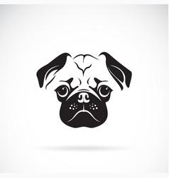 pug dog face on white background pet animals easy vector image