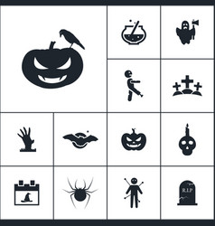 Pumpkin icon halloween set simple sign vector