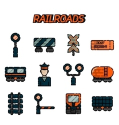 Railroads flat icons set vector image
