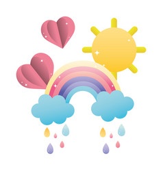 Rainbow clouds raining with hearts and sun vector
