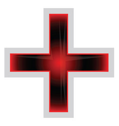 red and black greek cross on a white background vector image