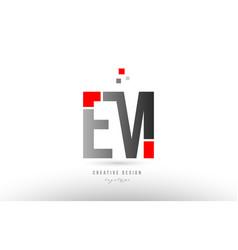 Red grey alphabet letter em e m logo combination vector