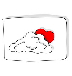 Red heart shape behind the cloud vector