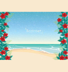 red hibiscus with green leaf frame on beach vector image