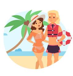 Resting woman near beach lifeguard character vector