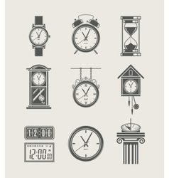 retro and modern clock set vector image