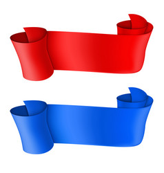 ribbon scrolls blue and red vector image
