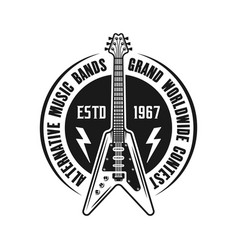 Rock music emblem with electric guitar vector