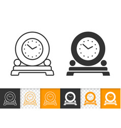 round clock on stand simple black line icon vector image