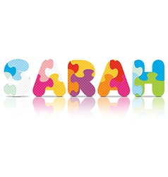 SARAH written with alphabet puzzle vector