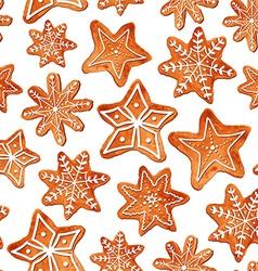Seamless pattern of watercolor gingerbread cookies vector