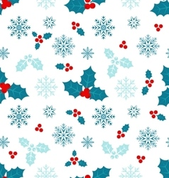 Seamless Pattern with Christmas Holly Berry vector image