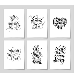 set of 6 hand written lettering positive vector image