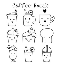 Set of cute bakery and coffee hand drawn doodle vector