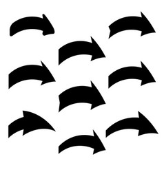 set of nine black various arrows vector image