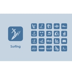 Set of surfing simple icons vector image