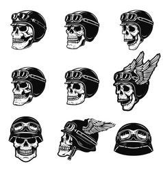 Set of the racer skulls isolated on white vector