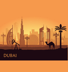 skyline of dubai with camel and date palm united vector image