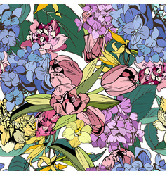 spring color flowers pattern a image vector image
