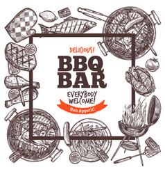 Square poster invitation for barbecue party bbq vector