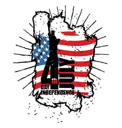 Statue of Liberty and USA flag in grunge style vector image