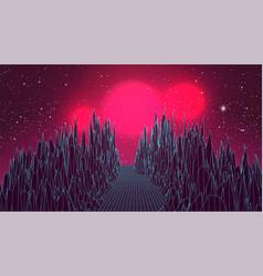 Synthwave background virtual sci-fi scene vector