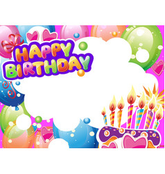 template for birthday card with place for text vector image