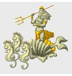 Triton on a carriage with team of sea horses vector