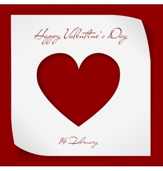 Valentines Day paper background with red cutting vector image