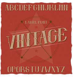 Vintage label typeface named premium beer vector