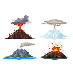 Volcano eruption set with magma smoke ashes vector